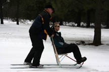 XDad and Shannon Kicksled