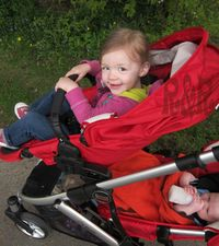 Two kids in Britax b Ready Stroller