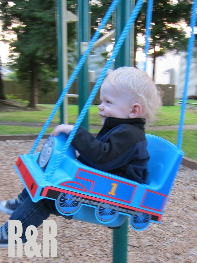 Toddler in Thomas Swing