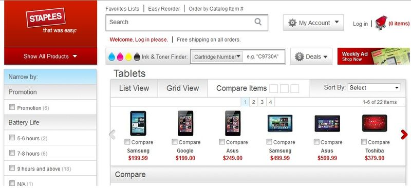 Staples.com Tablet shopping