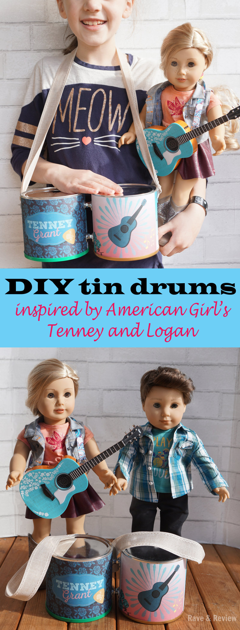 DIY tin drums inspired by American Girl's Tenney and Logan