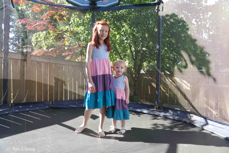 Trampoline girls in matching dresses