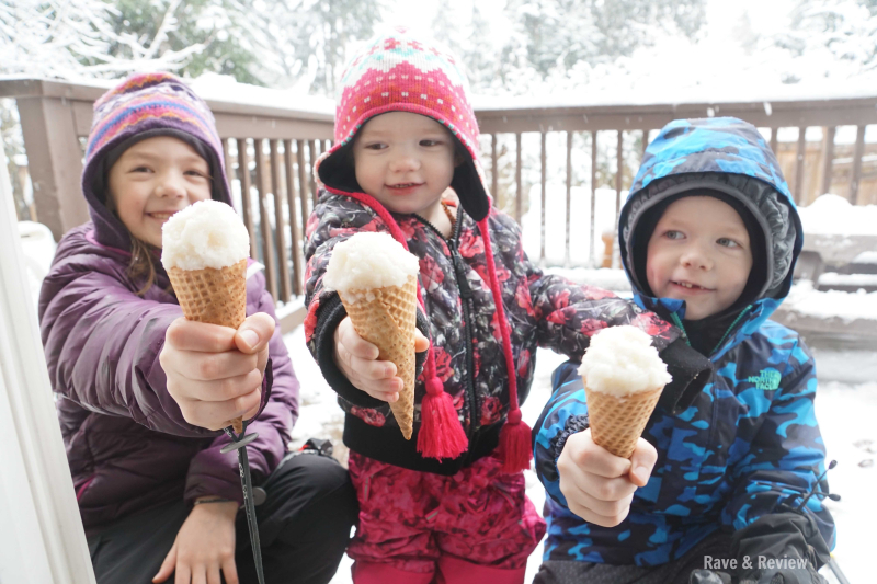 Kids with snow ice cream