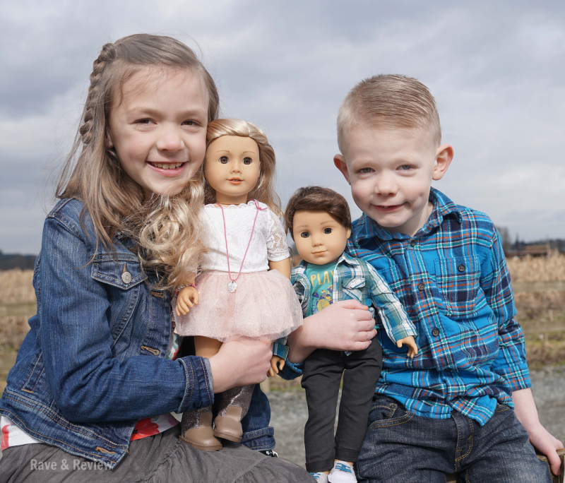 American Girl Tenney and Logan with kids