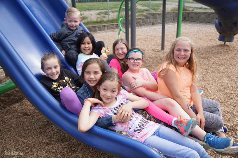 Friends on slide