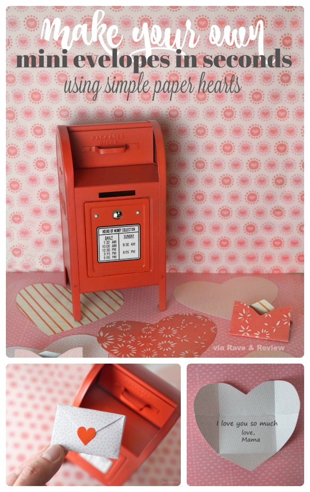 Make your own mini envelopes in seconds using paper hearts