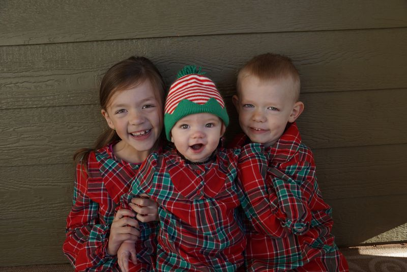 Kiddos in Christmas jammies