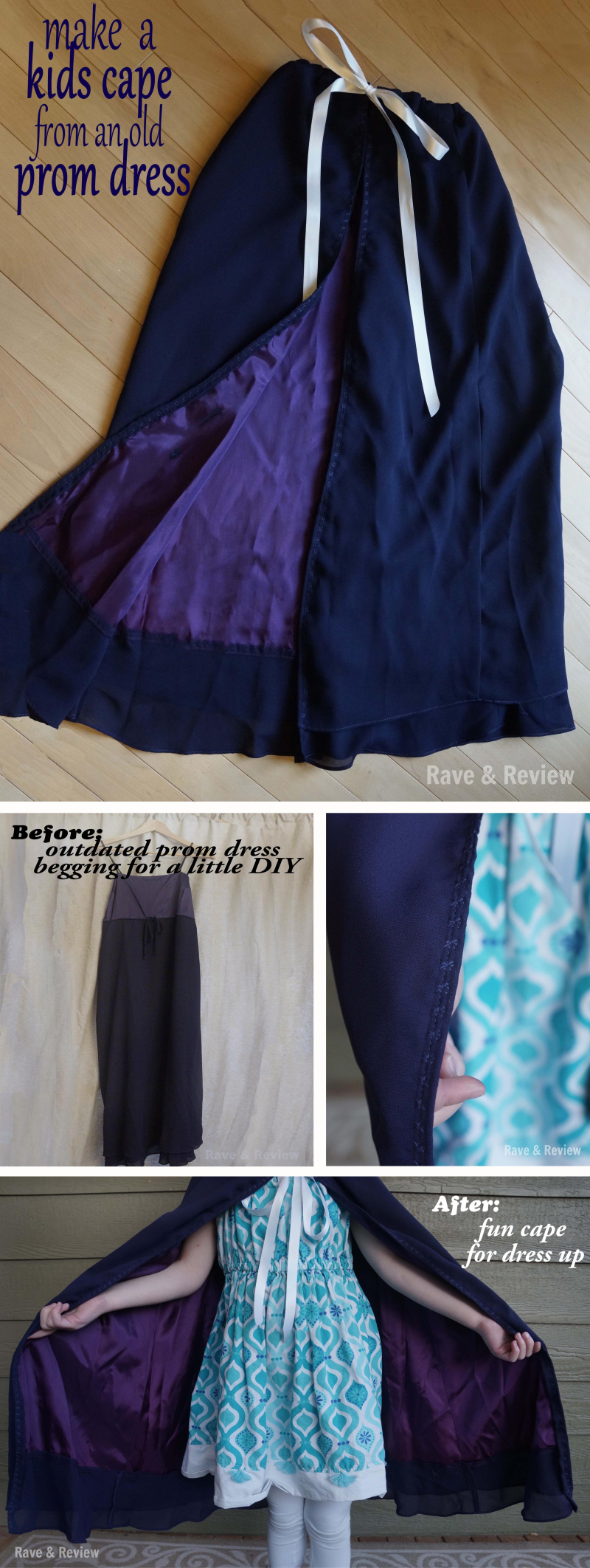 Make a kids cape from a prom dress DIY