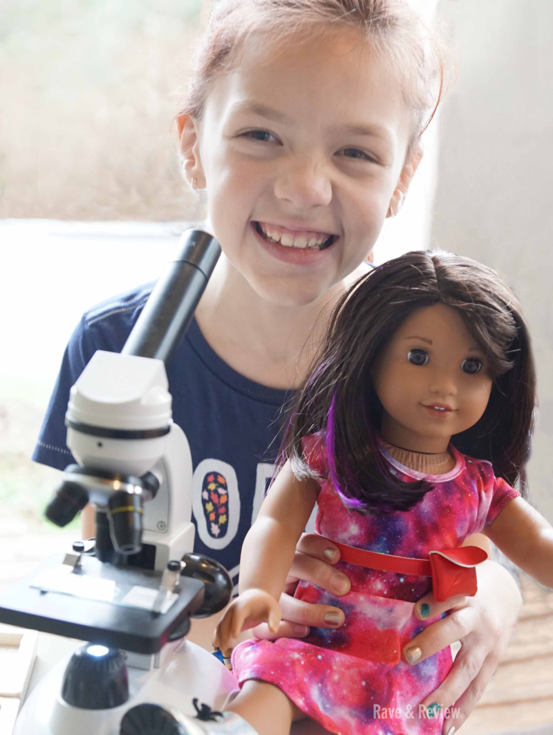 Luciana with microscope